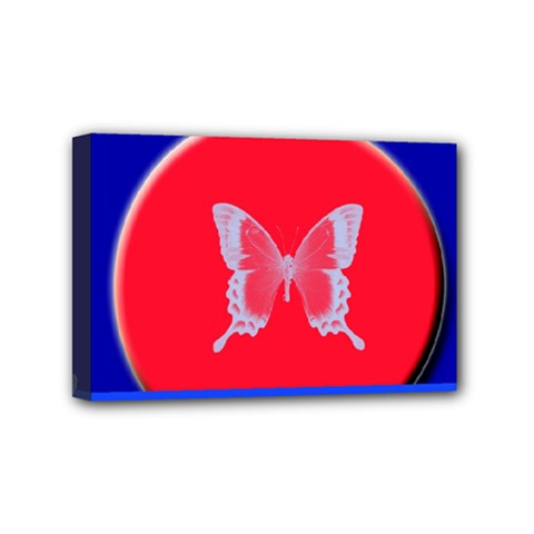 Blue Background Butterflies Frame Mini Canvas 6  x 4