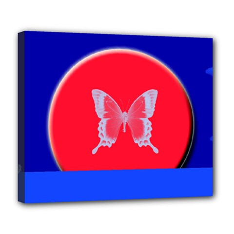 Blue Background Butterflies Frame Deluxe Canvas 24  x 20