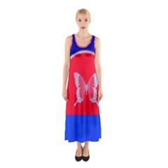 Blue Background Butterflies Frame Sleeveless Maxi Dress