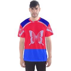 Blue Background Butterflies Frame Men s Sport Mesh Tee