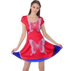 Blue Background Butterflies Frame Cap Sleeve Dresses