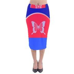 Blue Background Butterflies Frame Velvet Midi Pencil Skirt