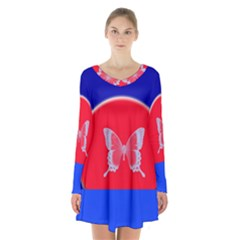 Blue Background Butterflies Frame Long Sleeve Velvet V Neck Dress