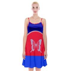 Blue Background Butterflies Frame Spaghetti Strap Velvet Dress
