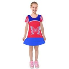 Blue Background Butterflies Frame Kids  Short Sleeve Velvet Dress