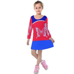 Blue Background Butterflies Frame Kids  Long Sleeve Velvet Dress
