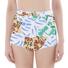 Broken Tile Texture Background High-Waisted Bikini Bottoms