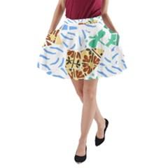 Broken Tile Texture Background A-Line Pocket Skirt