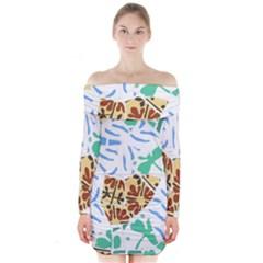 Broken Tile Texture Background Long Sleeve Off Shoulder Dress