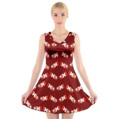 Christmas Crackers V-Neck Sleeveless Skater Dress