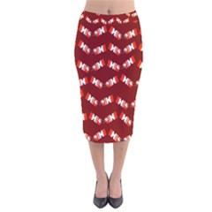 Christmas Crackers Velvet Midi Pencil Skirt