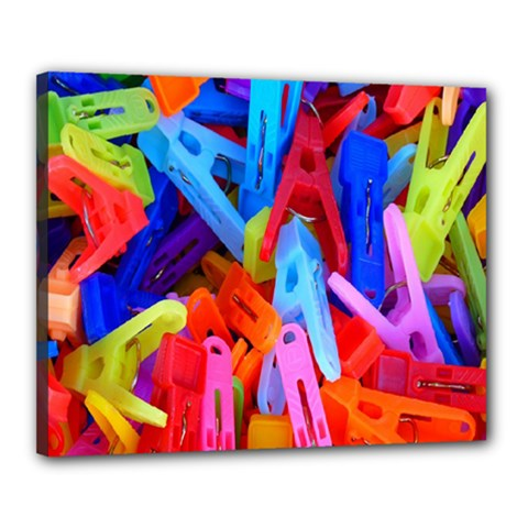 Clothespins Colorful Laundry Jam Pattern Canvas 20  x 16