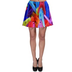 Clothespins Colorful Laundry Jam Pattern Skater Skirt