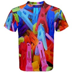 Clothespins Colorful Laundry Jam Pattern Men s Cotton Tee