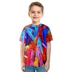 Clothespins Colorful Laundry Jam Pattern Kids  Sport Mesh Tee