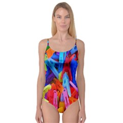 Clothespins Colorful Laundry Jam Pattern Camisole Leotard