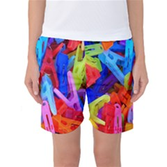 Clothespins Colorful Laundry Jam Pattern Women s Basketball Shorts