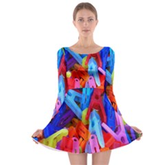 Clothespins Colorful Laundry Jam Pattern Long Sleeve Skater Dress