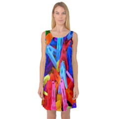 Clothespins Colorful Laundry Jam Pattern Sleeveless Satin Nightdress