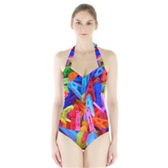 Clothespins Colorful Laundry Jam Pattern Halter Swimsuit