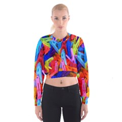 Clothespins Colorful Laundry Jam Pattern Women s Cropped Sweatshirt