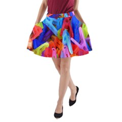Clothespins Colorful Laundry Jam Pattern A-Line Pocket Skirt