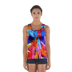 Clothespins Colorful Laundry Jam Pattern Women s Sport Tank Top