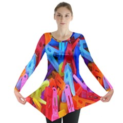 Clothespins Colorful Laundry Jam Pattern Long Sleeve Tunic