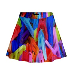 Clothespins Colorful Laundry Jam Pattern Mini Flare Skirt