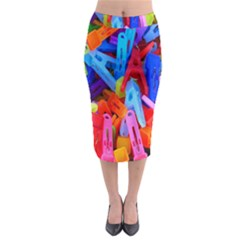 Clothespins Colorful Laundry Jam Pattern Midi Pencil Skirt