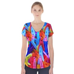 Clothespins Colorful Laundry Jam Pattern Short Sleeve Front Detail Top