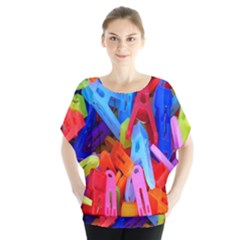 Clothespins Colorful Laundry Jam Pattern Blouse