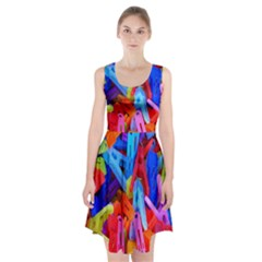 Clothespins Colorful Laundry Jam Pattern Racerback Midi Dress