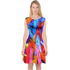 Clothespins Colorful Laundry Jam Pattern Capsleeve Midi Dress