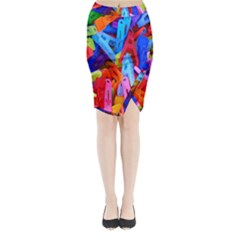 Clothespins Colorful Laundry Jam Pattern Midi Wrap Pencil Skirt