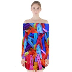 Clothespins Colorful Laundry Jam Pattern Long Sleeve Off Shoulder Dress
