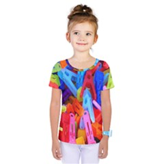 Clothespins Colorful Laundry Jam Pattern Kids  One Piece Tee