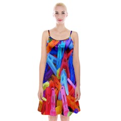 Clothespins Colorful Laundry Jam Pattern Spaghetti Strap Velvet Dress