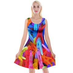 Clothespins Colorful Laundry Jam Pattern Reversible Velvet Sleeveless Dress