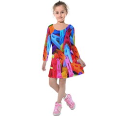 Clothespins Colorful Laundry Jam Pattern Kids  Long Sleeve Velvet Dress