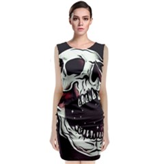 Death Skull Sleeveless Velvet Midi Dress