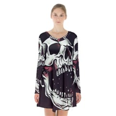 Death Skull Long Sleeve Velvet V Neck Dress