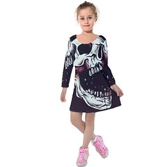 Death Skull Kids  Long Sleeve Velvet Dress