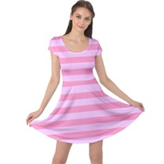 Fabric Baby Pink Shades Pale Cap Sleeve Dresses