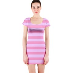 Fabric Baby Pink Shades Pale Short Sleeve Bodycon Dress