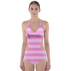 Fabric Baby Pink Shades Pale Cut-Out One Piece Swimsuit