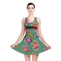 Flowers Pattern Reversible Skater Dress
