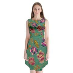 Flowers Pattern Sleeveless Chiffon Dress