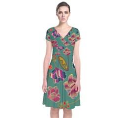 Flowers Pattern Short Sleeve Front Wrap Dress