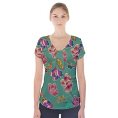 Flowers Pattern Short Sleeve Front Detail Top